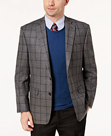 Lauren Ralph Lauren Men's Classic-Fit Gray Windowpane Ultraflex Wool Sport Coat