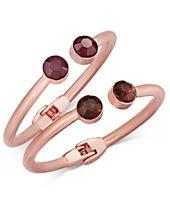 I.N.C. Rose Gold-Tone 2-Pc. Set Stone Hinged Bangle Bracelets, Created for Macy's