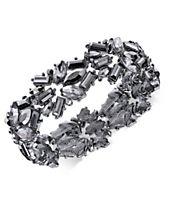 I.N.C. Hematite-Tone Stone Cluster Stretch Bracelet, Created for Macy's