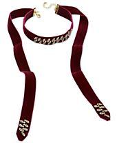 I.N.C. Pavé Leaf Velvet Choker Necklace, Created for Macy's