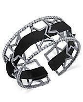 I.N.C. Openwork Star Pavé Cuff Bracelet with Velvet Ribbon, Created for Macy's