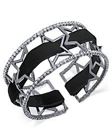 I.N.C. Openwork Star Pavé Cuff Bracelet with Velvet Ribbon, Created for Macy's