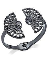 I.N.C. Hematite-Tone Stone & Pavé Decorative Hinged Bangle Bracelet, Created for Macy's