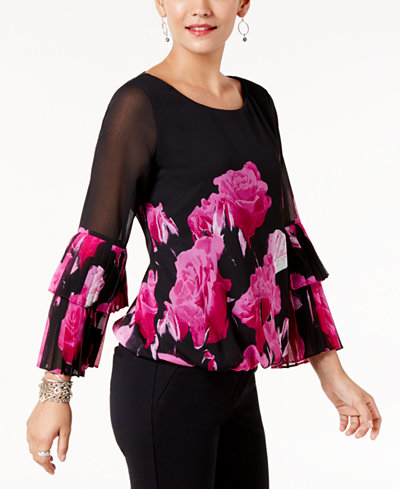 Alfani Petite Printed Pleated-Sleeve Top, Created for Macy's