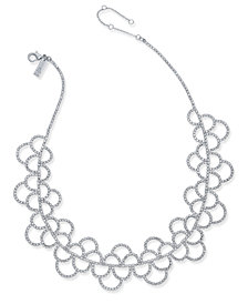 I.N.C. Silver-Tone Crystal Scallop Statement Necklace, Created for Macy's