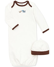 Baby Boys Cute Puppies Gown and Hat Set