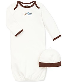 Little Me Baby Boys Cute Puppies Gown and Hat Set