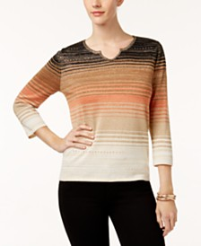 Alfred Dunner Jungle Love Ombré Striped Sweater