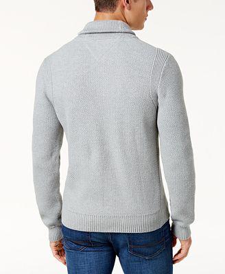 Tommy Hilfiger Men's Waffle Knit Shawl-Collar Sweater - Sweaters ...