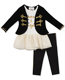 Rare Editions 3-Pc. Military Jacket, Tutu Tunic & Leggings Set Baby Girls (0-24 months)