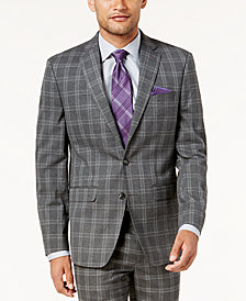 Sean John Men's Slim-Fit Gray Windowpane Suit Jacket