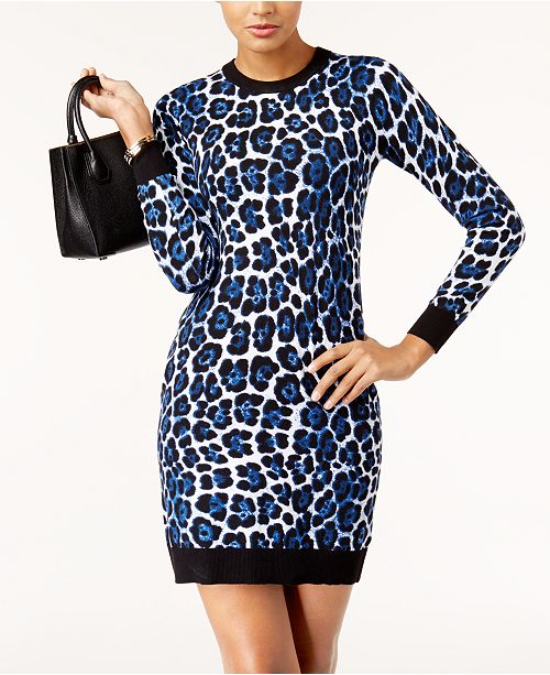 1f9700ce7e Michael Kors Animal-Print Sweater Dress   Reviews - Dresses - Women ...