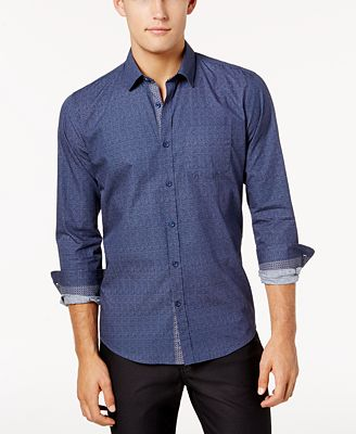 Ryan Seacrest Distinction™ Men's Blue Chambray Button Placket ...