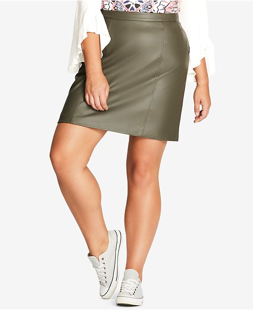 57c3025bb3f26 City Chic Trendy Plus Size Faux-Leather Skirt   Reviews - Skirts - Plus ...