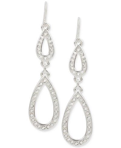 Touch of Silver Pavé Double Teardrop Drop Earrings in Silver-Plate