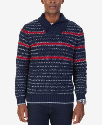 Nautica Mens Ribbed Shawl Collar Sweater