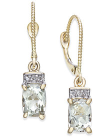 Green Quartz (1-3/4 ct. t.w.) & Diamond Accent Drop Earrings in 14k Gold