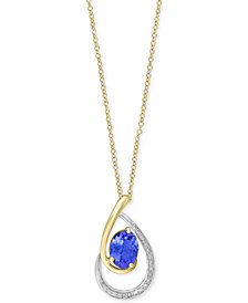 Tanzanite Royalé by EFFY® Tanzanite (1-1/8 ct. t.w.) & Diamond (1/10 ct. t.w.) Pendant Necklace in 14k Gold & White Gold