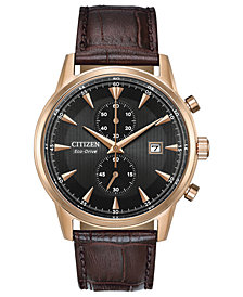 Citizen Eco-Drive Men's Chronograph Corso Brown Leather Strap Watch 43mm