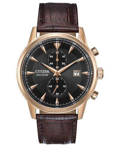 Citizen Eco-Drive Men's Chronograph Corso Brown Leather Strap Watch 43mm