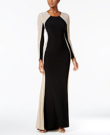 Xscape Rhinestone Illusion Gown