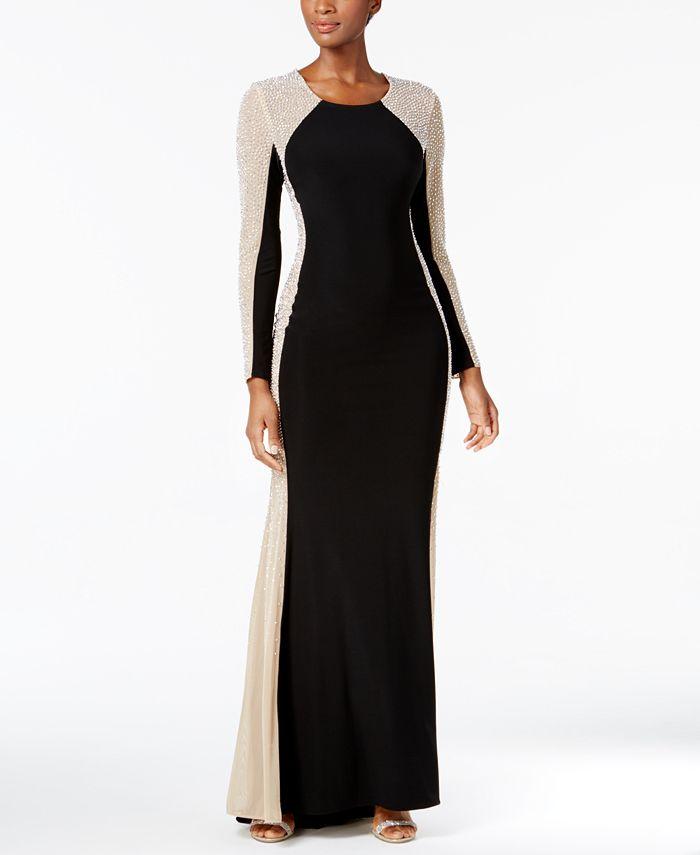 XSCAPE - Rhinestone-Contrast Gown