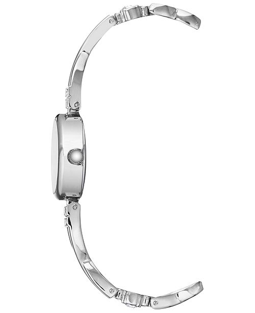 Anne Klein Women S Silver Tone Bangle Bracelet Watch 22mm Gift Set Watches Jewelry Macy