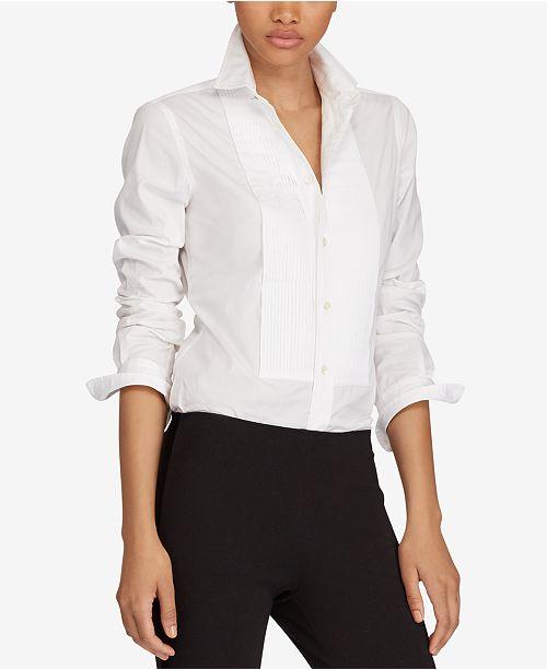 Polo Ralph Lauren Broadcloth Cotton Tuxedo Shirt - Tops - Women - Macy s 56128bf75b