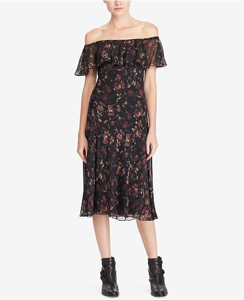 e96bc30aa007 Polo Ralph Lauren Off-The-Shoulder Floral-Print Silk Dress & Reviews ...
