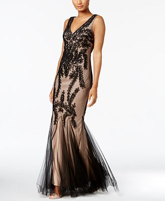 Betsy Adam Soutache Mermaid Gown Dresses Women Macys