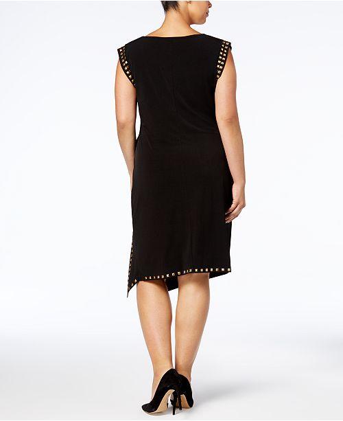 Michael Kors Plus Size Studded Asymmetrical Hem Dress Dresses