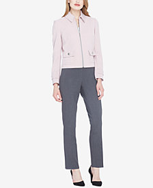 Tahari ASL Zip-Front Pic-Stitched Collared Pantsuit