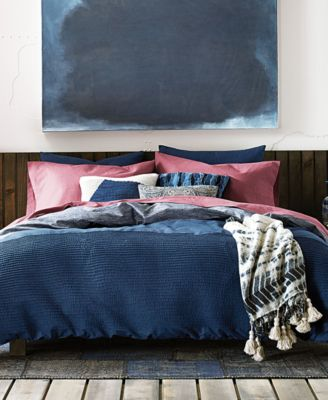 image 1 of tommy hilfiger hilfiger blues vintage pleated reversible 3pc king comforter