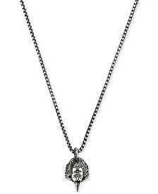 Gucci Men's Anger Forest Eagle Head Pendant Necklace in Sterling Sliver with Auerco Black Finish YBB47690700100U