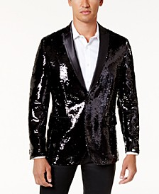 INC Men's Big & Tall Slim-Fit Reversible Sequined Blazer, Created for Macy's