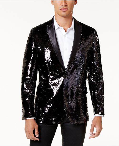 INC International Concepts I.N.C. Men's Slim-Fit Reversible Sequined Blazer, Created for Macy's