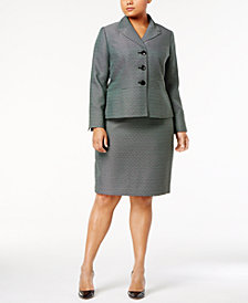 Le Suit Plus Size Three-Button Tweed Skirt Suit