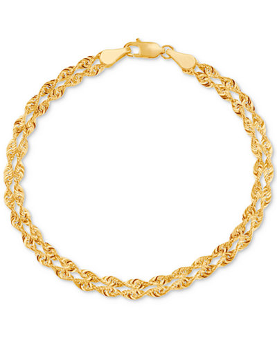 Double Singapore Chain Bracelet in 14k Gold