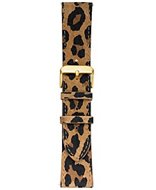 Smart Buddie Platinum Cheetah-Print Leather Strap for 22mm Smart Watch