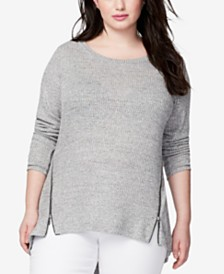 RACHEL Rachel Roy Trendy Plus Size Zip-Hem Top