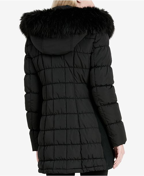 f1a710c8f Calvin Klein Faux-Fur-Trim Layered Puffer Coat & Reviews - Coats ...