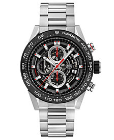 TAG Heuer Men's Swiss Automatic Carerra Chronograph Steel Bracelet Watch 45mm