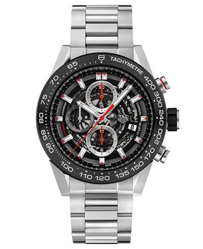 TAG Heuer Men's Swiss Automatic Carerra Chronograph Steel Bracelet Watch 45mm