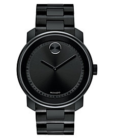 Movado Men's Swiss BOLD Black Stainless Steel Bracelet Watch 43mm