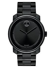 Movado Men's Swiss BOLD Black Stainless Steel Bracelet Watch 43mm