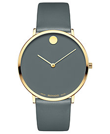 LIMITED EDITION Movado  Men's Swiss Museum Dial 70th Anniversary Gray Leather Strap Watch 40mm - a Special Edition