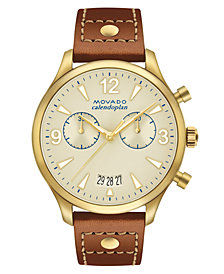 Movado Women's Swiss Chronograph Heritage Series Calendoplan Cognac Leather Strap Watch 38mm