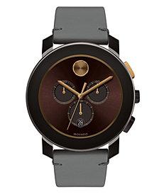 Movado Men's Swiss Chronograph Bold Gray Colorado Bull Hide Leather Strap Watch 44mm