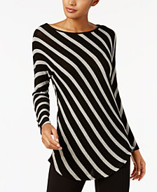 I.N.C. Petite Dolman-Sleeve Stripe Top, Created for Macy's