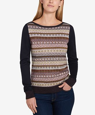 Tommy Hilfiger Metallic Fair Isle Stripe Sweater, Created for ...